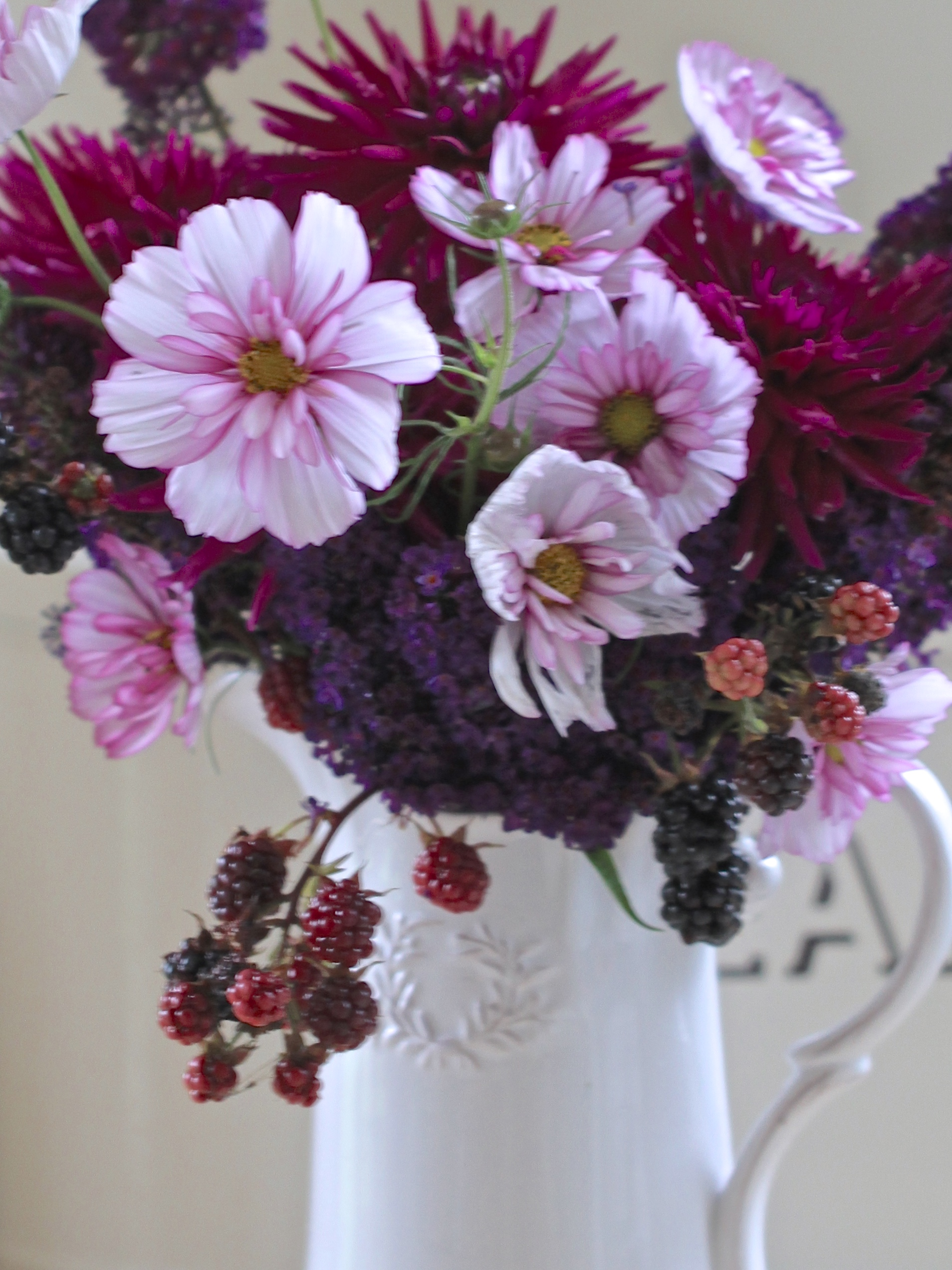 Buddleja-Dahlia-and-Cosmos-Vase